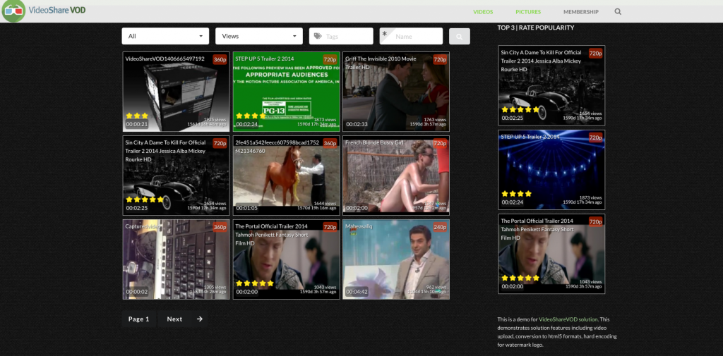 A dedicated section powered by Video Share VOD lists videos.