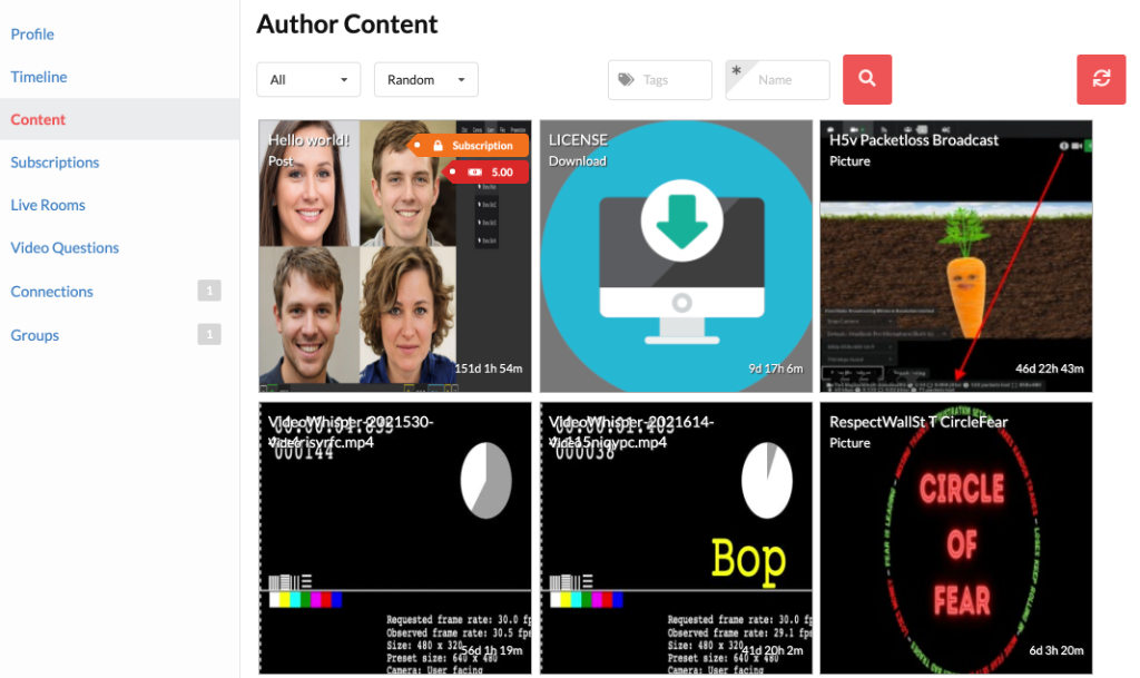 Creator's content is available on author's own social page (BuddyPress/BuddyBoss), in addition to pages that aggregate all site content.