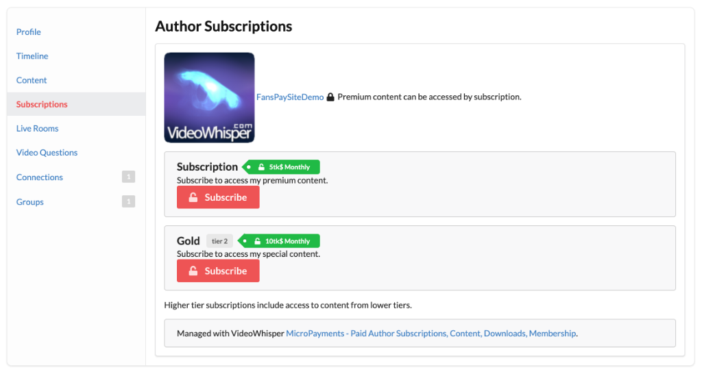 Subscription options are also available on creator's own social page, powered by BuddyPress/BuddyBoss.