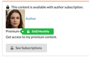 Creators can publish content that requires specific subscription tier. Client needs to subscribe to author, to access content.